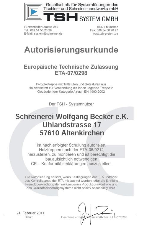 AUTORISIERUNGSURKUNDE FALTWERKTREPPE 2011