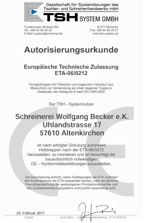 AUTORISIERUNGSURKUNDE SYSTEMTREPPE 2011