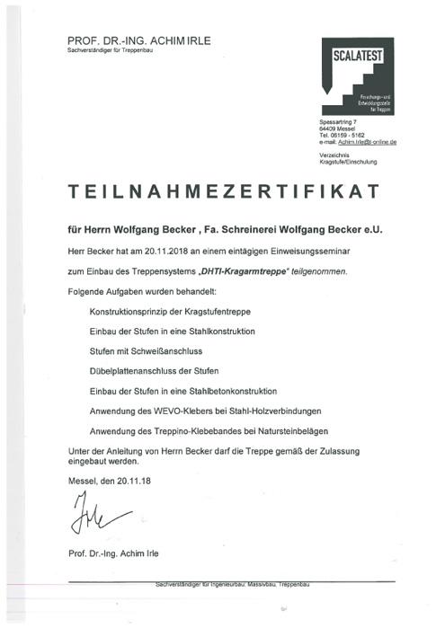TEILNAHMEZERIFIKAT KRAGARMTREPP 2018